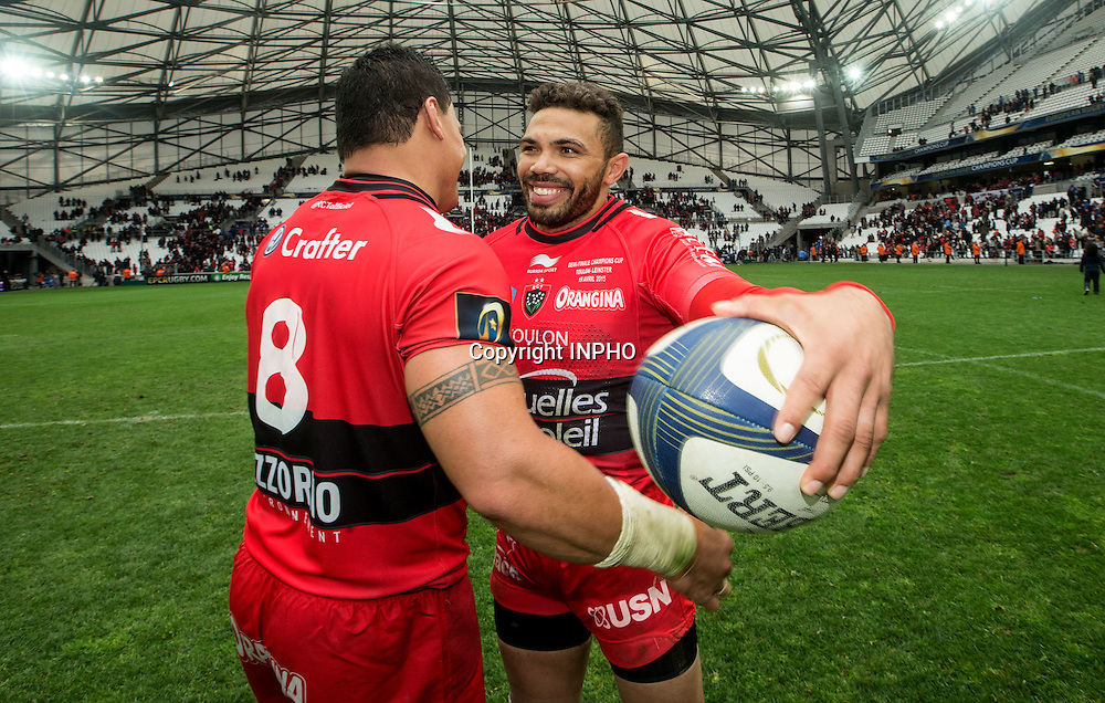 European Rugby Champions Cup Semi-Final, Stade V&eacute;lodrome, Marseille, France 19/4/2015<br /> RC Toulon vs Leinster<br /> Toulon's Chris Masoe and Bryan Habana celebrate after the game<br /> Mandatory Credit &copy;INPHO/James Crombie