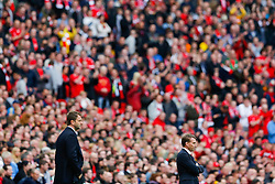 Liverpool Manager Brendan Rodgers (R) looks frustrated as Aston Villa Manager Tim Sherwood (L) looks on - Photo mandatory by-line: Rogan Thomson/JMP - 07966 386802 - 19/04/2015 - SPORT - FOOTBALL - London, England - Wembley Stadium - Aston Villa v Liverpool - FA Cup Semi Final.