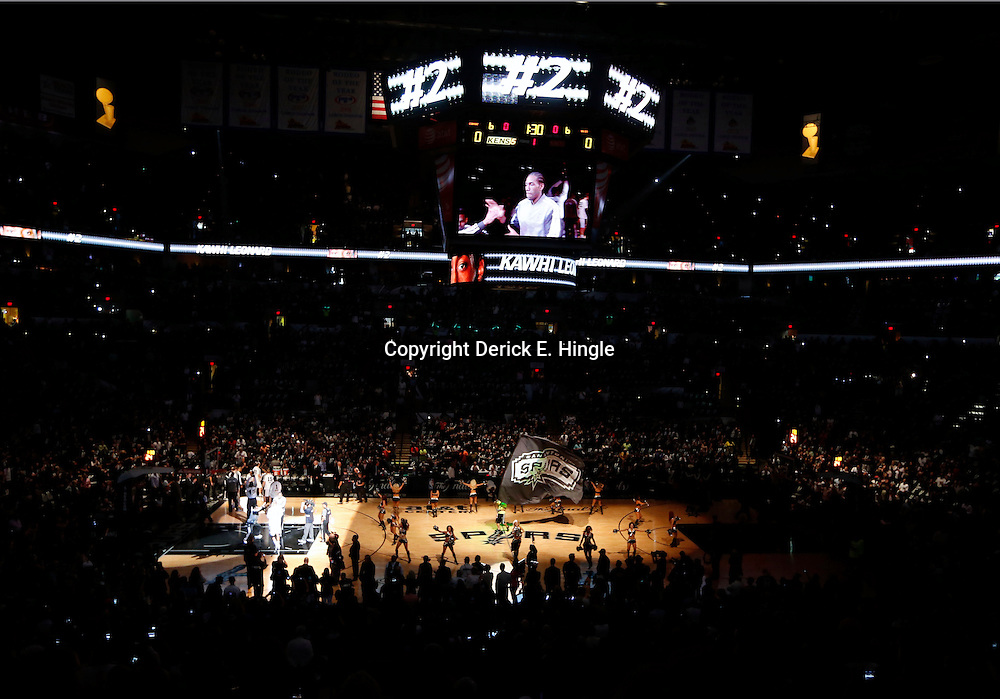 Jun 11, 2013; San Antonio, TX, USA; San Antonio Spurs small forward Kawhi Leonard  is introduced prior to the start against the Miami Heat ingame three of the 2013 NBA Finals at the AT&T Center. Mandatory Credit: Derick E. Hingle-USA TODAY Sports