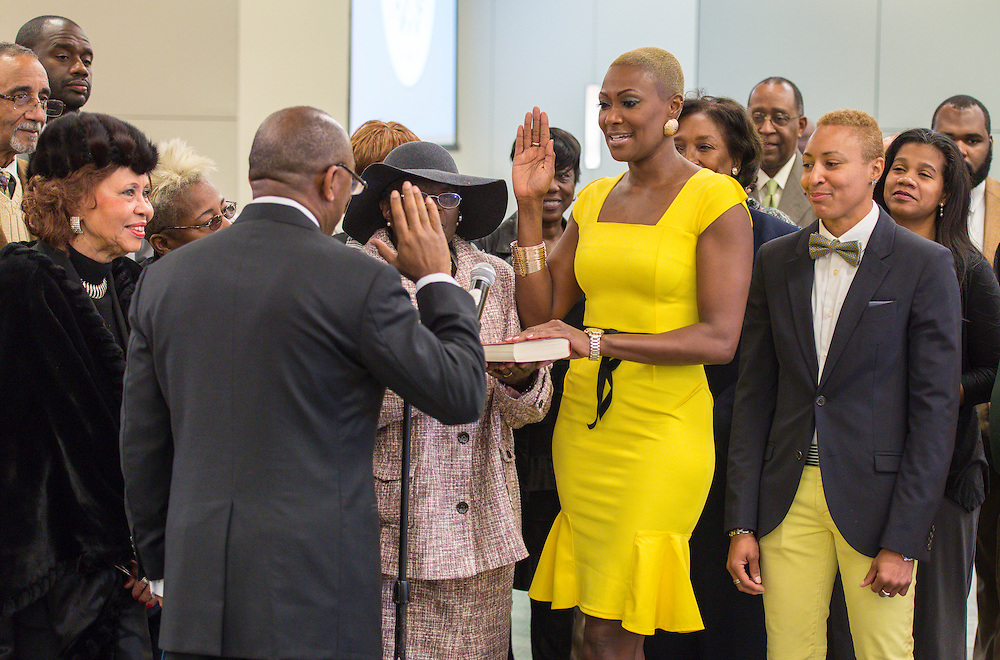 Jolanda Jones is sworn in during ceremonies for newly elected Houston ISD trustees, January 14, 2016.