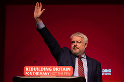 © Licensed to London News Pictures. 24/09/2018. Liverpool, UK. First Minister for Wales Carwyn Jones waves after delivering his final speech to the Labour Party Conference. Jones is to stand down as First Minister for Wales. Photo credit: Rob Pinney/LNP