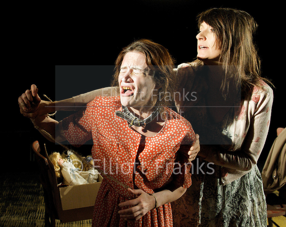Hundreds and Thousands<br /> by Lou Ramsden <br /> at the Soho Theatre Upstairs studio, London, Great Britain <br /> press photocall<br /> 24th June 2011 <br /> <br /> <br /> Sukie Smith (as Lorna)<br /> Nadine Lewington (as Tiggy)<br /> <br /> <br /> <br /> Photograph by Elliott Franks