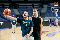 Tomaz Ursic and Luka Doncic of Slovenia at training session during of the FIBA EuroBasket 2017 at Hartwall Arena in Helsinki, Finland on September 4, 2017. Photo by Vid Ponikvar / Sportida