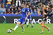 Chelsea defender Branislav Ivanovic (2) kicks ball clear of Hull City player Ryan Mason (25)  during the Premier League match between Hull City and Chelsea at the KCOM Stadium, Kingston upon Hull, England on 1 October 2016. Photo by Ian Lyall.