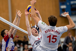 12-05-2017 NED: Nederland - Tsjechië, Amstelveen<br /> De Nederlandse volleybal mannen spelen hun eerste oefeninterland in de Emergohal in Amstelveen tegen Tsjechië. Deze wedstrijd staat in het teken van de verplaatsing van het Bankrasmomument. Nederland speelde daarom in speciale oude Nederlandse shirts uit 1992 / Daan van Haarlem #1