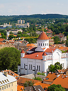 High-angle view of Vilnius and the Orthodox Church from the Vilnius University bell tower, in Senamiestyje/Old Town, Vilnius, Lithuania