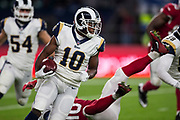 Los Angeles Rams Wide Receiver (10) Cooper, Pharoh returns the ball during the International Series match between Arizona Cardinals and Los Angeles Rams at Twickenham, Richmond, United Kingdom on 22 October 2017. Photo by Jason Brown.