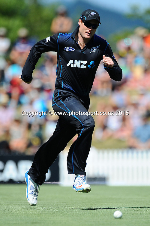 Black Cap player Martin Guptill during Match 4 of the ANZ One Day International Cricket Series between New Zealand Black Caps and Sri Lanka at Saxton Oval, Nelson, New Zealand. Tuesday 20 January 2015. Copyright Photo: Chris Symes/www.Photosport.co.nz