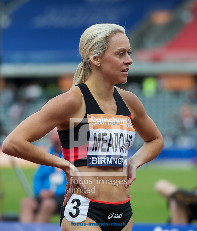 Jenny Meadows after the womens 800m final during the Sainsburys British Championships at Alexander Stadium, Birmingham<br /> Picture by Alan Stanford/Focus Images Ltd +44 7915 056117<br /> 29/06/2014