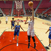 24 February 2018: The San Diego State women's basketball team closes out it's home schedule of the regular season Saturday afternoon against San Jose State. San Diego State Aztecs forward Arantxa Gomez Ferrer (11) attempts an uncontested layup in the second half. The Aztecs beat the Spartans 85-78 at Viejas Arena.<br /> More game action at sdsuaztecphotos.com