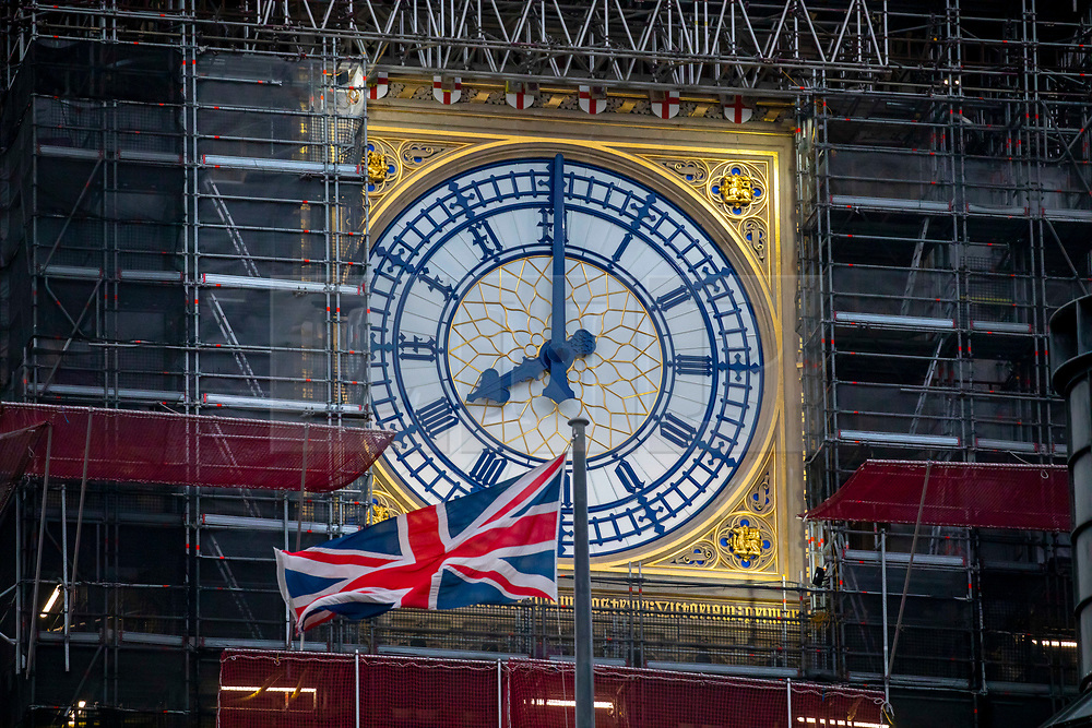 © Licensed to London News Pictures. 31/01/2020. London, UK. Early morning light over Big Ben and the Houses of Parliament on Brexit Day 31 January 2020 and just 15 hours before the UK will leave the European Union at 11pm tonight. Photo credit: Alex Lentati/LNP
