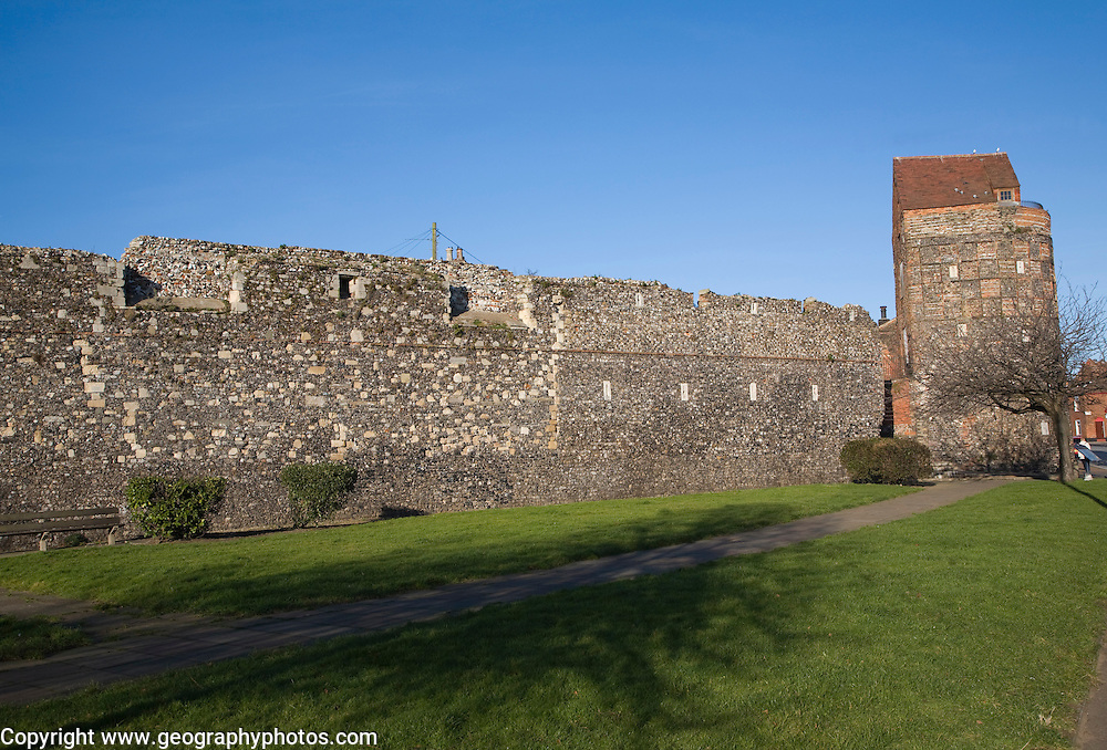 Ancient medieval town walls and tower, Great Yarmouth, Norfolk, England