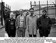 Sacked for being in a Trade Union GCHQ staff outside on their last day, Mike Grindley, Brian Johnson, Graham Hughes, Alan Rowland (left Cheadle outstation 3 days ago).