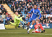 Gillingham forward, and goalscorer, Dominic Samuel watches his effort miss the target shortly after scoring the opening goal, during the Sky Bet League 1 match between Gillingham and Crewe Alexandra at the MEMS Priestfield Stadium, Gillingham, England on 12 March 2016. Photo by David Charbit.