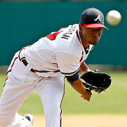 March 19, 2012; Lake Buena Vista, FL, USA; Atlanta Braves starting pitcher Julio Teheran (27) throws against the St. Louis Cardinals during the top of the sixth inning of a spring training game at Disney Wide World of Sports complex. Mandatory Credit: Derick E. Hingle-US PRESSWIRE