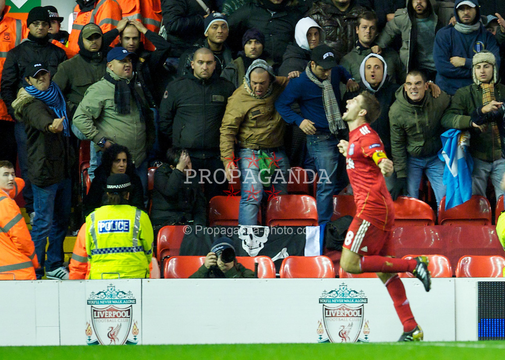 LIVERPOOL, ENGLAND - Thursday, November 4, 2010: Liverpool's captain Steven Gerrard MBE celebrates scoring his, and his side's third goal against SSC Napoli during the UEFA Europa League Group K Matchday 4 match at Anfield. (Photo by David Rawcliffe/Propaganda)