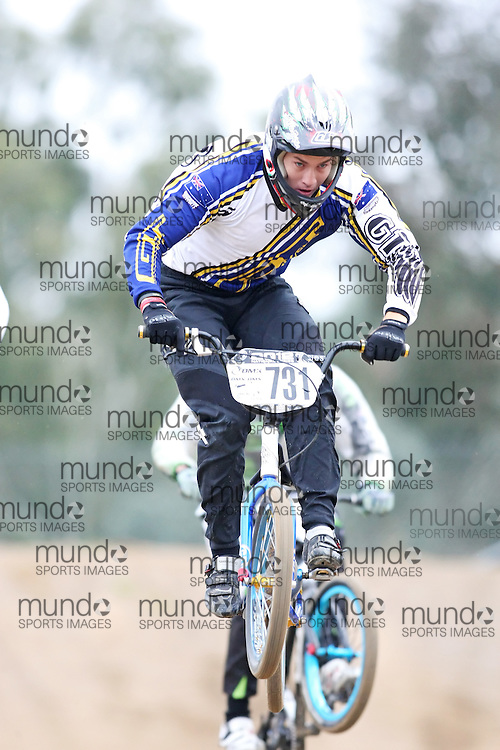 (Canberra, Australia---03 March 2012) Tom Siinmaa of Victoria competing in stage 5 of the BMX Australia Probikx Elite Men series at the Melba BMX Track in Canberra, Australia. Photograph 2012 Copyright Sean Burges / Mundo Sport Images. For reproduction rights and information in Australia, contact seanburges@yahoo.com. For information elsewhere contact info@mundosportimages.com.