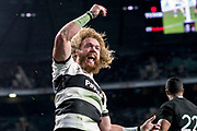 Twickenham, Surrey. England.  Baa Baa;s Willie BRITZ, celebrates during the Killik Cup, Barbarians vs New Zealand. Twickenham. UK<br /> <br /> Saturday  04.11.17<br /> <br /> [Mandatory Credit Peter SPURRIER/Intersport Images]