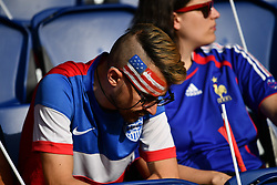 June 28, 2019 - Paris, ile de france, France - French and Americans fans before the quarter-final between FRANCE vs USA in the 2019 women's football World cup at Parc des Princes in Paris, on the 28 June 2019. (Credit Image: © Julien Mattia/NurPhoto via ZUMA Press)