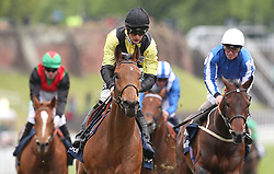 Future Investment (centre) ridden by Harry Bentley wins The Sportpesa Maiden Stakes, during Boodles City Day at Chester Racecourse, Chester.