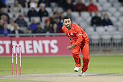 Lancashires Zahir Khan during the Vitality T20 Blast North Group match between Lancashire Lightning and Birmingham Bears at the Emirates, Old Trafford, Manchester, United Kingdom on 10 August 2018.