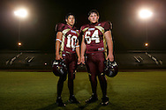 Photo by Alex Jones..La Feria Lions: #10 Eleazar Esquivel, quarterback, #64 Luciano Rodriguez, nose guard.