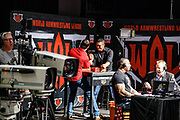 Baltimore, Maryland - May 17, 2018: The World Armwrestling League stage has a section for live interviews, commentary, and an armwrestling table to explain nuanced aspects of the sport. <br /> <br /> <br /> during the World Armwrestling League Supermatch Showdown Series at Rams Head Live in Baltimore, Thursday May 17th, 2018. Bleacher Report Live is the exclusive broadcaster of the event. With the recent advent of online video streaming services, niche sporting leagues are now able to sign broadcast deals. <br /> <br /> <br /> CREDIT: Matt Roth for The New York Times<br /> Assignment ID: 30219819A
