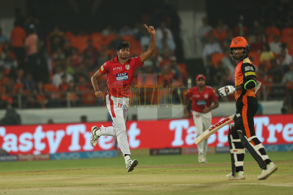 Ankit Singh Rajpoot of the Kings XI Punjab celebrates the wicket of Shikhar Dhawan of the Sunrisers Hyderabad during match twenty five of the Vivo Indian Premier League 2018 (IPL 2018) between the Sunrisers Hyderabad and the Kings XI Punjab  held at the Rajiv Gandhi International Cricket Stadium in Hyderabad on the 26th April 2018.<br /> <br /> Photo by: Ron Gaunt /SPORTZPICS for BCCI