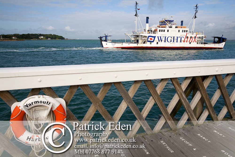 Wightlink, Lymington, Car Ferry, life belt, pier, yarmouth, Isle of Wight, England, UK photography photograph canvas canvases