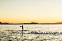 Homem jovem remando stand up paddle surf ao por do sol na Praia de Ponta das Canas. Florianópolis, Santa Catarina, Brasil. / Young man paddling stand up paddle surf at sunset in Ponta das Canas Beach. Florianopolis, Santa Catarina, Brazil.