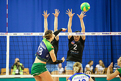 Katarzyna Zaroslinska of PGE Atom Trefl Sopot and Tina Grudina of Calcit Ljubljana during the volleyball match between Calcit Ljubljana and PGE Atom Trefl Sopot at 2016 CEV Volleyball Champions League, Women, League Round in Pool B, 1st Leg, on October 29, 2016, in Hala Tivoli, Ljubljana, Slovenia.  (Photo by Matic Klansek Velej / Sportida)