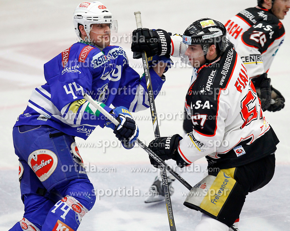 26.02. 2014, Stadthalle, Villach, AUT, EBEL, EC VSV vs HC Orli Znojmo, 8. Plazierungsrunde, im Bild Curtis Fraser (VSV,#44) und Ondrej Fiala (Znojmo,#67) // during the Erste Bank Icehockey League 8. Placing round between EC VSV vs HC Orli Znojmo at the City Hall, Villach, Austria, 2014/02/26, EXPA Pictures © 2014, PhotoCredit: EXPA/ Oskar Hoeher