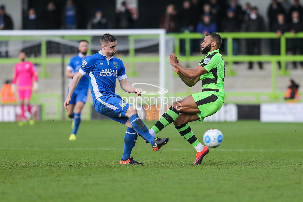 Forest Green Rovers Dan Wishart(17) and Macclesfield's Mitch Hancox challenge fior the ball during the Vanarama National League match between Forest Green Rovers and Macclesfield Town at the New Lawn, Forest Green, United Kingdom on 4 March 2017. Photo by Shane Healey.