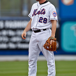 March 6, 2011; Port St. Lucie, FL, USA; New York Mets first baseman Daniel Murphy (28) during a spring training exhibition game against the Boston Red Sox at Digital Domain Park. The Mets defeated the Red Sox 6-5.  Mandatory Credit: Derick E. Hingle