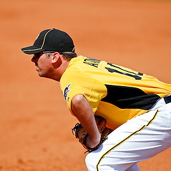 February 25, 2011; Bradenton, FL, USA; Pittsburgh Pirates first baseman Garrett Atkins (10) during a spring training exhibition game against the State College of Florida Manatees at McKechnie Field. The Pirates defeated the Manatees 21-1. Mandatory Credit: Derick E. Hingle