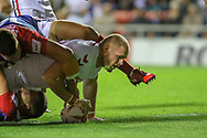 Thomas Burgess of England scores the opening try during the International Friendly match at Leigh Sports Village, Leigh<br /> Picture by Steve McCormick/Focus Images Ltd 07545 862647<br /> 17/10/2018
