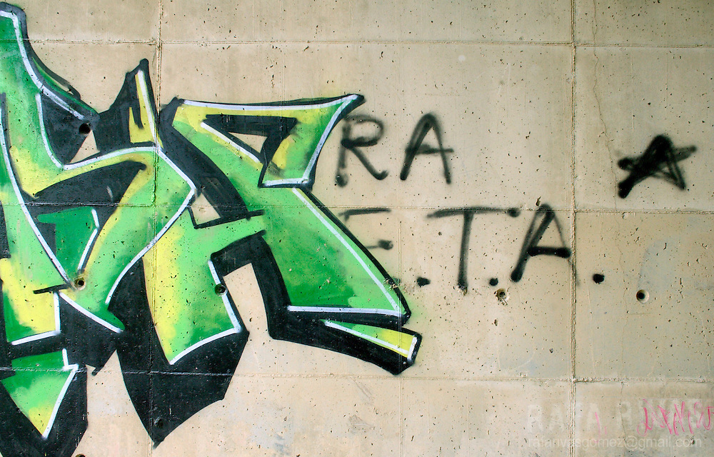 Old graffiti in favour of pro-independence armed Basque group ETA, in the Northern Spanish Basque town of Llodio, on March 31, 2006. Photo Rafa Rivas