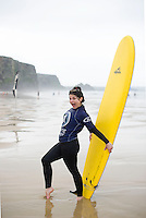 Picture By Jim Wileman  08/08/2012  Columnist and author Caitlin Moran surfing with her family at Watergate Bay, Cornwall.