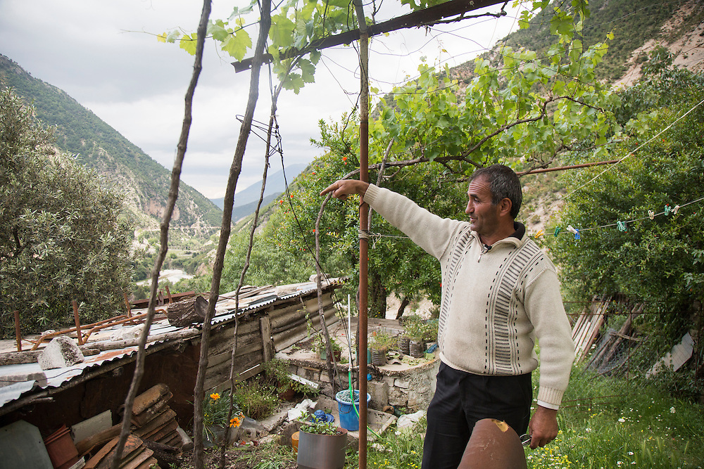 A farmer in the village of Bence (pronounced Bancha) points to the Ali Pasha Aqueduct in the Bence valley. The aqueduct was built during the reign of the Ottoman pashalik sometime in the late 1700s or early 1800s and speaks to the long history of people and water in the area.