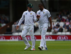 July 27, 2017 - London, United Kingdom - L-R Faf du Plessis of South Africa  and Vernon Philander of South Africa during the International Test Match Series Day One match between England and South Africa at  The Kia Oval Ground in London on July 27, 2017  (Credit Image: © Kieran Galvin/NurPhoto via ZUMA Press)