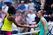 Venus Williams of the United States and Svetlana Kuznetsova of Russia at the net after the first round of the 2018 US Open Grand Slam tennis tournament, New York, USA, August 27th 2018, Photo Rob Prange / SpainProSportsImages / DPPI / ProSportsImages / DPPI