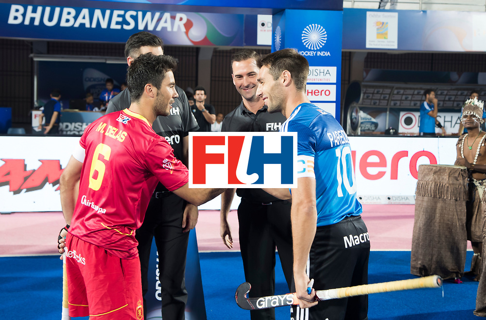 BHUBANESWAR -  Hockey World League finals ,  . Argentina v Spain . Miguel Delas (Esp) ,  DE YOUNG Ben , GOENTGEN Ben, Matias Paredes (Arg)  . COPYRIGHT KOEN SUYK