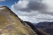 View of the final path up to Sgurr Mor, one of the munro peaks of Beinn Alligin, near Torridon in the north-west Highlands of Scotland