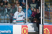 KELOWNA, CANADA - MARCH 5: Tyson Baillie #24 of Kelowna Rockets stands in the penalty box against the Kamloops Blazers on March 5, 2016 at Prospera Place in Kelowna, British Columbia, Canada.  (Photo by Marissa Baecker/Shoot the Breeze)  *** Local Caption *** Tyson Baillie;
