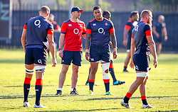 Steve Borthwick (Forwards Coach) of England  with Nathan Hughes (Wasps) - Mandatory by-line: Steve Haag/JMP - 13/06/2018 - RUGBY - Kings Park Stadium - Durban, South Africa - England Rugby Training and Press Conference, South Africa Tour
