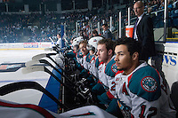 KELOWNA, CANADA - APRIL 25: Tyrell Goulbourne #12 and Cole Linaker #26 of the Kelowna Rockets sits on the bench with their team at the start of the game against the Portland Winterhawks on April 25, 2014 during Game 5 of the third round of WHL Playoffs at Prospera Place in Kelowna, British Columbia, Canada. The Portland Winterhawks won 7 - 3 and took the Western Conference Championship for the fourth year in a row earning them a place in the WHL final.  (Photo by Marissa Baecker/Getty Images)  *** Local Caption *** Tyrell Goulbourne; Cole Linaker;