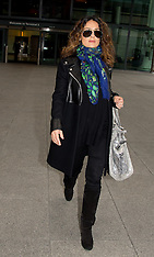 MAR 11 2014 Salma Hayek arrives at Heathrow Airport