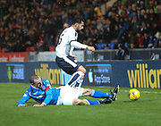 St Johnstone&rsquo;s David Mackay tackles Dundee&rsquo;s Kane Hemmings - St Johnstone v Dundee, Ladbrokes Scottish Premiership at McDiarmid Park<br /> <br />  - &copy; David Young - www.davidyoungphoto.co.uk - email: davidyoungphoto@gmail.com