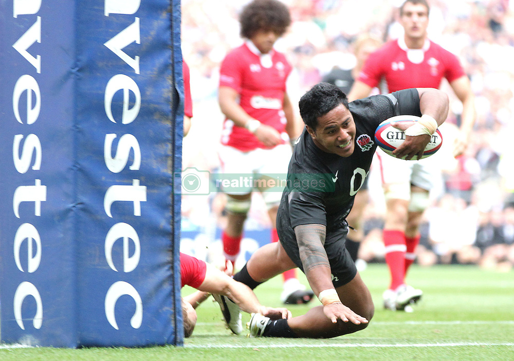© Andrew Fosker / Seconds Left Images 2011 - England's Manu Tuilagi dives over under the posts to score a try  England v Wales  - Investec International - 06/08/2011 - Twickenham Stadium  - London - All rights reserved..