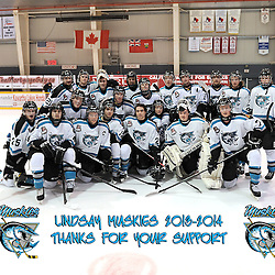 LINDSAY, ON - Feb 21 : Ontario Junior Hockey League Game Action between the Lindsay Muskies and the Pickering Panthers, 2013/2014 Lindsay Muskies Hockey Club <br /> (Photo by Andy Corneau / OJHL Images)